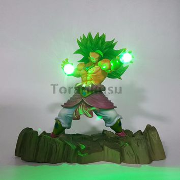 Dragon Ball Z Broly Super Saiyan Power Up Led Lighting Kamehameha Anime Dragon Ball Z DBZ Broly Collectible Model Toy Figurine