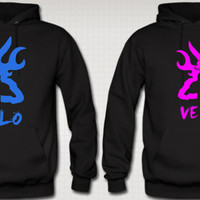 Browning Deer Love Couple Hoodies Soul Mate Hoodies She Is Mine Hes Mine