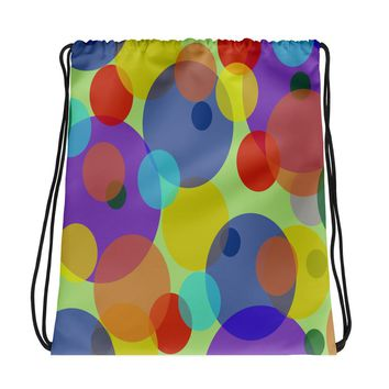All-over-print Drawstring bag - Pastel ovals, bubbles pattern