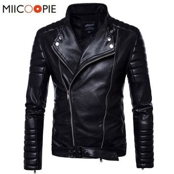 ALL Season Leather Jacket -  Men Solid Biker Motorcycle Leather Jackets