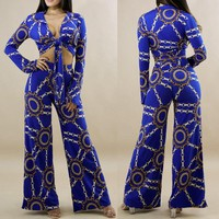 Sexy 2 Pieces Sets for Women Chain Print