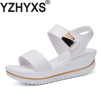 Sexy Women Sandals Platform Wedges High Heel Brand Quality Genuine Leather Women's Fashion Summer Shoes For Youth Ladies