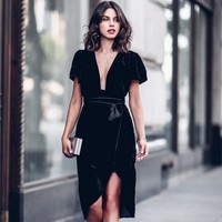 Velvet Deep V-Neck Short Sleeve Wrap Dress