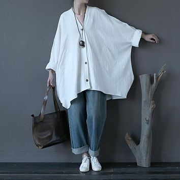 Women Cotton Linen Single Breasted Plus Size Vintage Trench Coat 2016 Autumn Bat Sleeve Overcoats Oversized Outwear Retro Trench