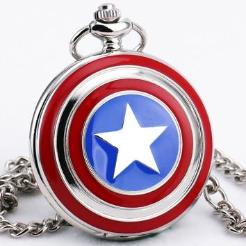 TD Men Boys Retro Captain American Quartz Pocket Watches Black Dial Pendant Necklace Sweater Chain Glass Ball + Gift BOX