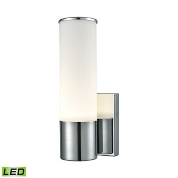 1 Light LED Wall Sconce in Chrome and Opal Glass