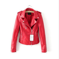 2017 new lady Slim leather PU leather short section Slim motorcycle leather jacket jacket casual coat