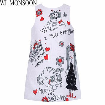Princess Dress for Girls Clothes Character Printed Robe Costumes for Children Clothing Girls Dresses Kids