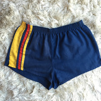 Vintage 1970's 3 stripe short gym running shorts with elastic waist and back pocket polyester cotton blend women's size large