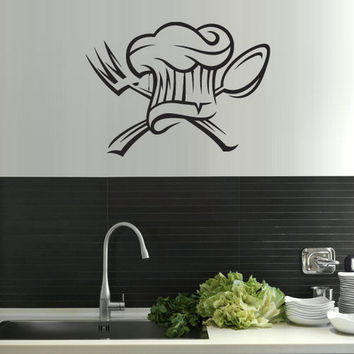 rvz1544 Wall Vinyl Sticker Kitchen Decal Spoon Fork Hat Retro Poster Hubcap