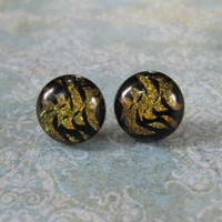 Dichroic Gold Earrings, Button Earrings, Women Jewelry, Fused Glass Jewelry - Issa - 1820 -3