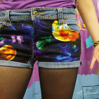 Unique Customized Galaxy Sky Cut Off Jean Shorts, low waisted