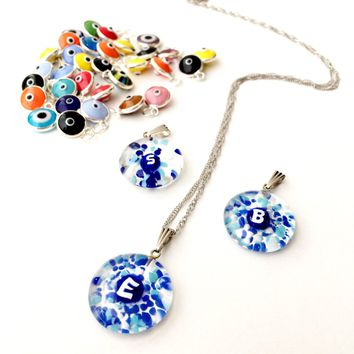 Personalized evil eye necklace, initial necklace, evil eye necklace, murano glass necklace