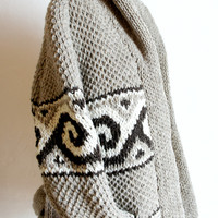 Wool Roll Neck Mexican Sweater in Grey with Wave Design