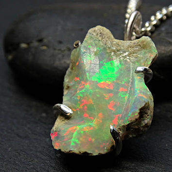 raw welo opal necklace, opal pendant silver, rough opal necklace, opal nugget pendant, opal crystal pendant, October birthstone gift opal