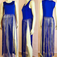 Blue Sleeveless Fringe Design Maxi Dress