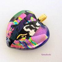 Tropical Orchid Pink and Fuchsia Handmade Dichroic Glass Heart Pendant