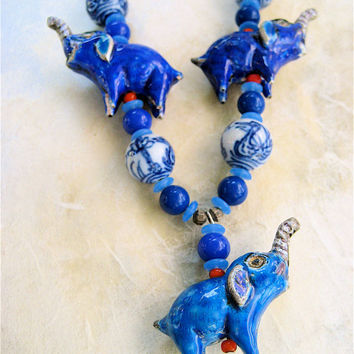 Sale Blue Elephants Necklace Antique Chinese Enamel Repousse Elephants with Chinese Porcelain Asian Inspired Jewelry