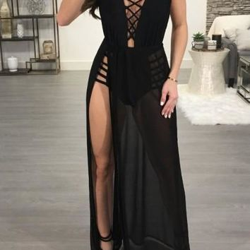 Black Sashes Cut Out Backless Side Slit Halter Neck Clubwear Party Maxi Dress