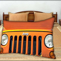 """Jeep Wrangler Orange - 20 """" x 30 """" inch,Pillow Case and Pillow Cover."""