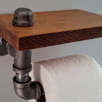 Industrial toilet paper holder with Special Walnut stained wood shelf, wall mount; Industrial Decor, steampunk decor