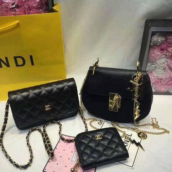 Year-End Promotion 3 Pcs Of Bags Combination (Chloe Bag ,Chanel Little Bag ,YSL Wallet) Color Black