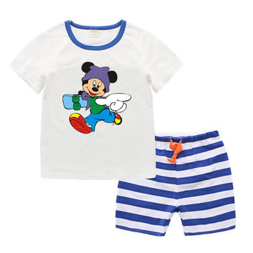 100% Organic Cotton Cartoon Toddler Boy Clothing Sets Summer 2017 New Kids Boys Clothes Mickey Fashion Baby Boys Suits T6028