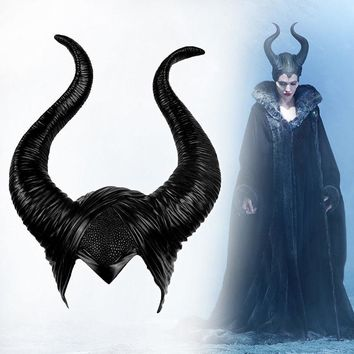 Cool Halloween Cosplay Maleficent Witch Horns Hat Headwear Mask Headgear Helmet Party Black QueenAT_93_12