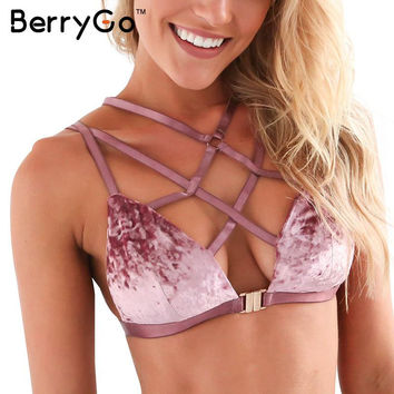 BerryGo Sexy lace up velvet push up bra women lingerie Backless padded strappy bra Deep v neck wirefree bralette top intimates