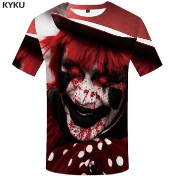 KYKU Clown T Shirt Men Monster Tshirt 3d Printed T-shirt Punk T Shirts Hip Hop Tshirts Street Mens Clothing Casual Hipster Shirt