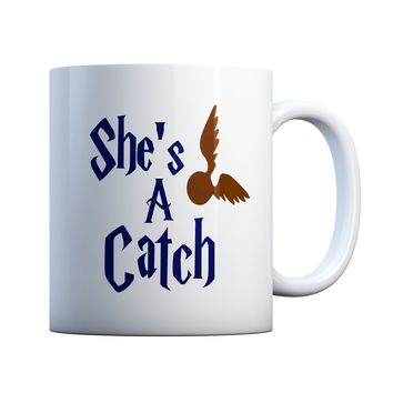 She's A Catch Couples 11 oz Coffee Mug Ceramic Coffee and Tea Cup