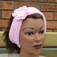 Women Headband in Pink, Headband with Flower, Pink Women Neckwarmer, Hand Knit Headband/Neckwarmer
