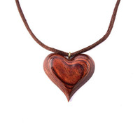Wooden Heart Necklace, Wood Jewelry, Wooden Pendant, Wood Heart Pendant, Wood Heart Carved Pendant, Hand Carved Pendant, Valentine's Day