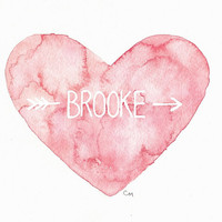 Custom Pastel Name Heart - Pink Peachy Pastel Personalized Watercolor Painting - 8x10 - Boy Girl Baby Nursery Names - Brooke No. 1 Heart