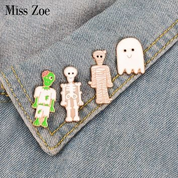 Skeleton enamel pin Cartoon ghost mummy zombie brooch Button Badge Lapel pin Clothes Jeans cap bag Funny jewelry Gift for friend