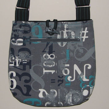"Quilted Shoulder Bag , Cotton Canvas Purse , Grey/Black/White/Teal, ""Numbers"""