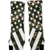 Combat Stars And Stripes Green Camo Custom Nike Elite Socks