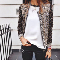 Woman Fashion Print Ethic Style Casual Jacket Coat