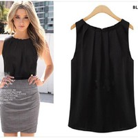 Aliexpress.com : Buy Blusas Women Blouses Roupas Femininas 2014 Tropical Sexy Fold Sleeveless Chiffon Plus Size Ladies Blouses Casual Tops Clothing from Reliable blouse tshirt suppliers on KARA FASHION FACTORY | Alibaba Group