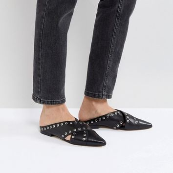 Sol Sana Cross Black Eyelet Flat Shoes at asos.com