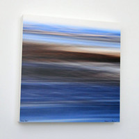 Abstract Art, Beach Photography, Water and Sand, Blue and Brown, Seascape, 12X12 Wood Panel, Nature, Ready to Hang