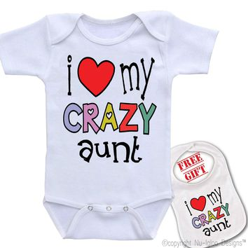 """"""" I Love My Crazy Aunt """" Family theme Onesuit & bib (Available in 5 Colors)"""