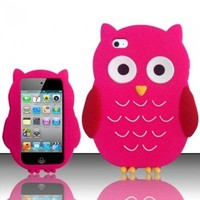 HOT PINK CUTE OWL SOFT SILICONE CASE COVER FOR APPLE iPOD iTOUCH 4 4G +FREEBIES [In Casesity Retail Packaging] (Pink Owl)