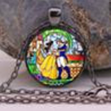 Beauty and the Beast necklace, Flowers Rose jewelry Cothic Glass Photo Cabochon Necklace pendant Jewellery Gifts
