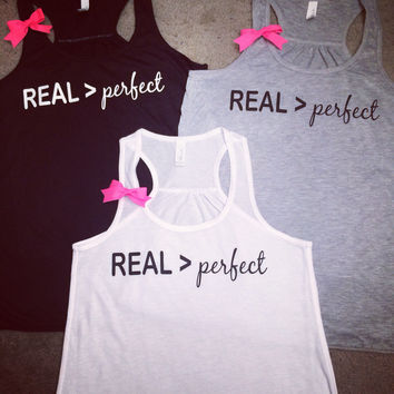 REAL > perfect - tank -  Ruffles with Love - Womens Fitness - Workout Clothing - Workout Shirts with Sayings