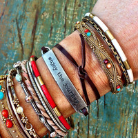"Leather Cuff Wrap Bracelets with Inspirational Metal Tag - ""Enjoy the Journey"" Adjustable Boho Layering Cuffs"
