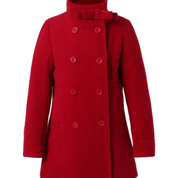 Richie House Dark Red Stand Collar Peacoat - Toddler & Girls | zulily
