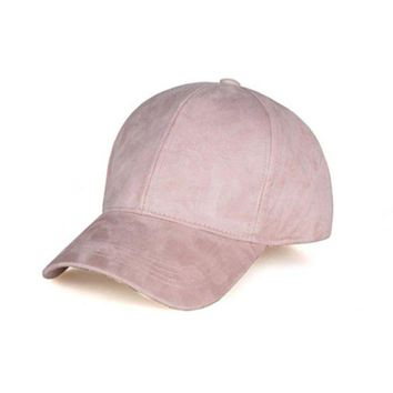 LMFG8W For women men Spring Summer Adjustable Artificial Suede Baseball Cap Hat Solid Color Hats