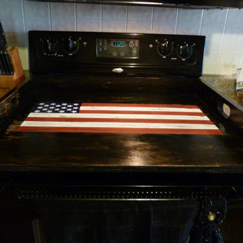 Americana Flag Noodle Board, Dough Board, Country Kitchen Board, Wooden Tray, Stove Top Cover, Laundry Room, Black Tan Board