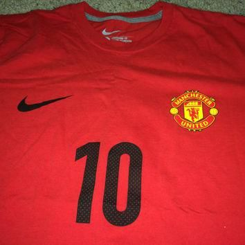Sale!! Vintage Nike Manchester United Soccer shirt mufc football jersey cotton tee #10